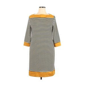 Isaac Mizrahi Shift Dress XL Black Yellow Striped